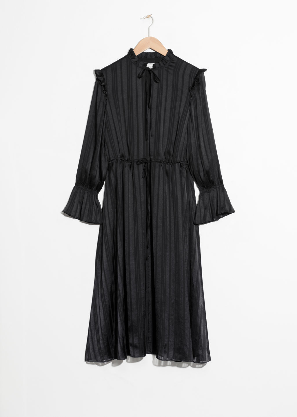Front image of Stories jacquard stripe midi dress in black