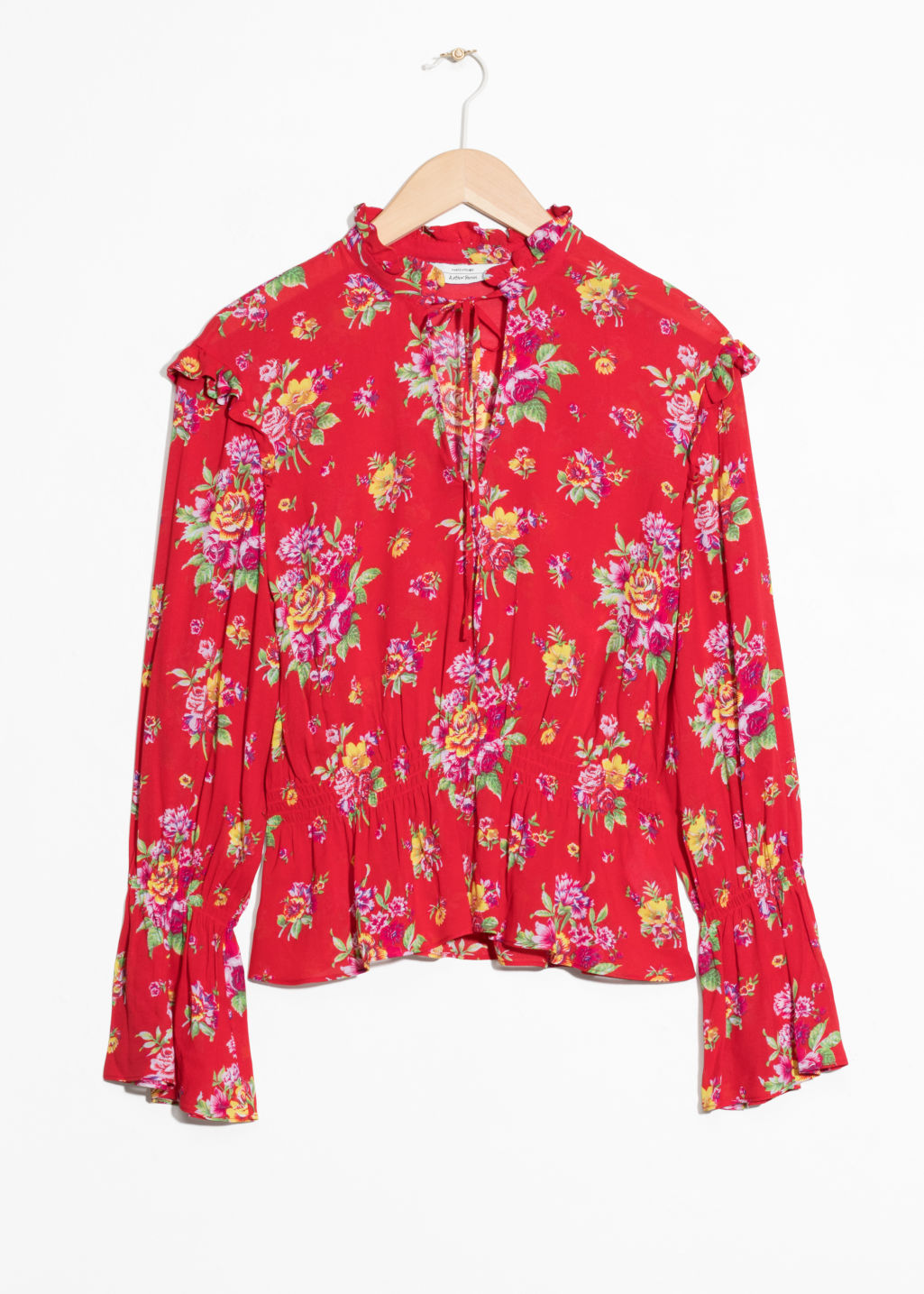 Front image of Stories bell sleeve blouse in red