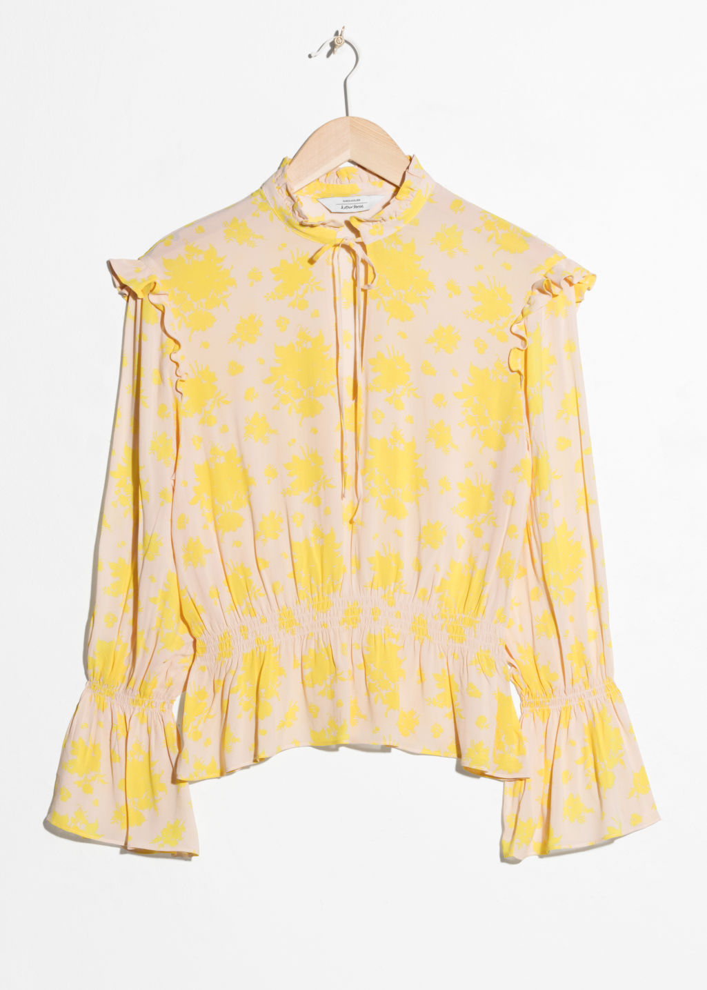 Front image of Stories bell sleeve blouse in yellow