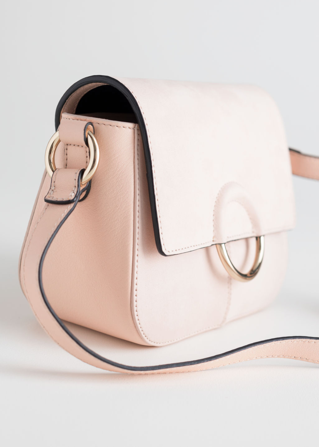 Back image of Stories exposed ring leather bag in beige