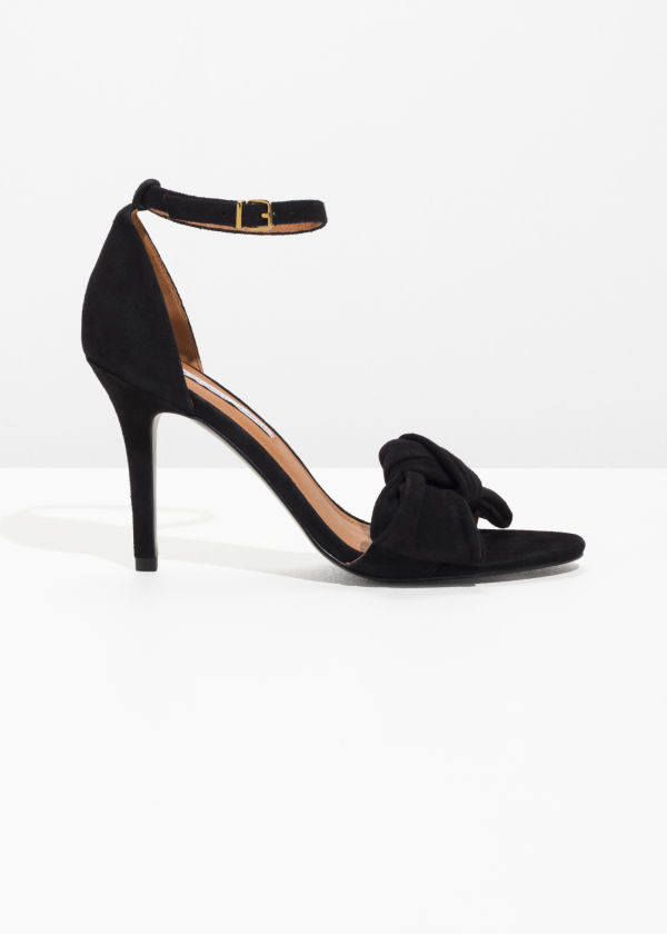 Front image of Stories knotted heeled sandals in black
