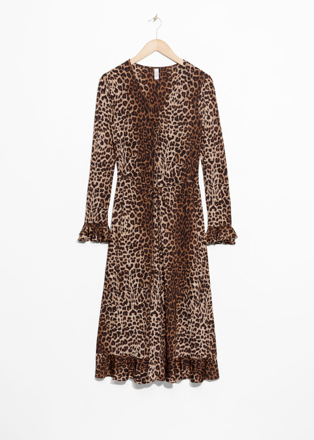 Front image of Stories leopard print midi dress in beige