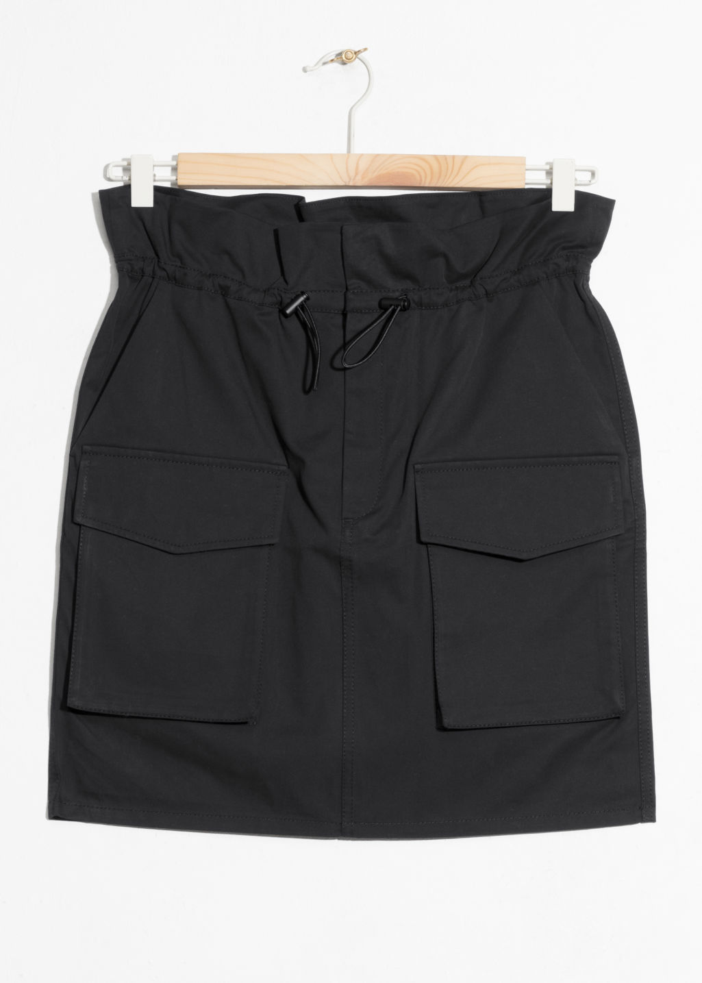 Front image of Stories paperwaist utilitarian skirt  in black