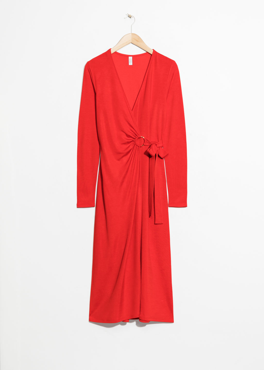 Front image of Stories o-ring belted midi dress in red