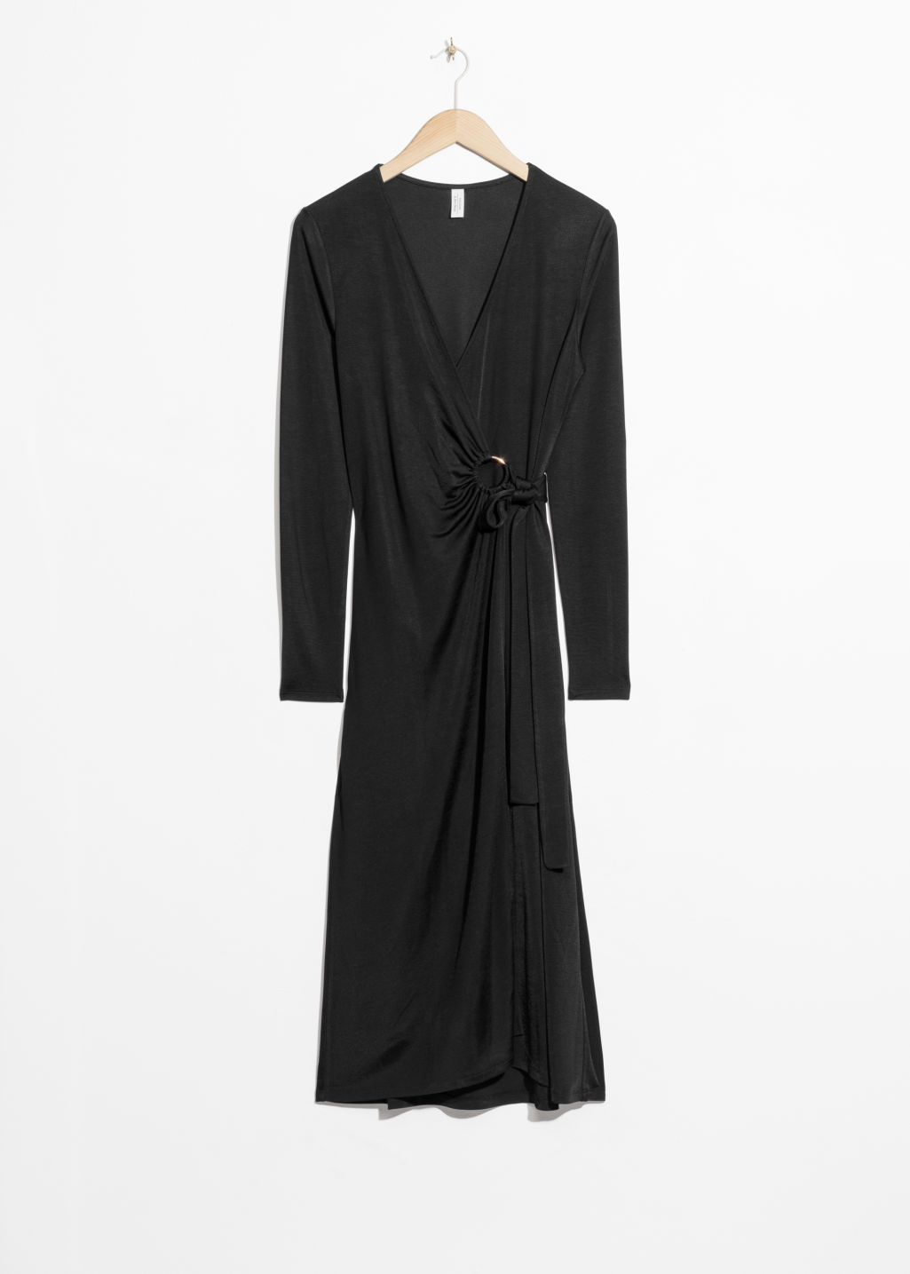 Front image of Stories o-ring belted midi dress in black