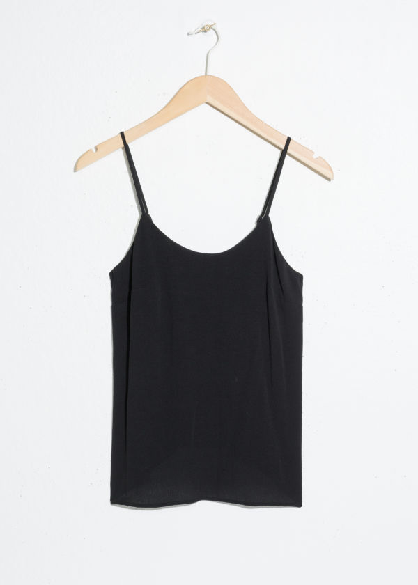 Front image of Stories basic spaghetti strap tank in black