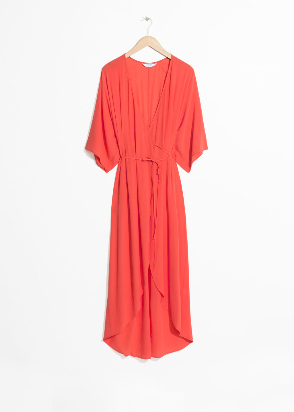 Front image of Stories maxi kaftan wrap dress in orange