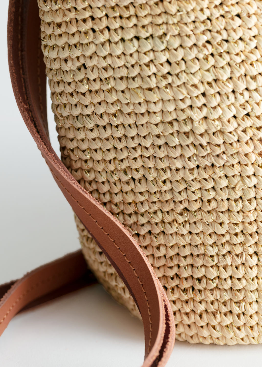 Back image of Stories embellished woven tote in beige