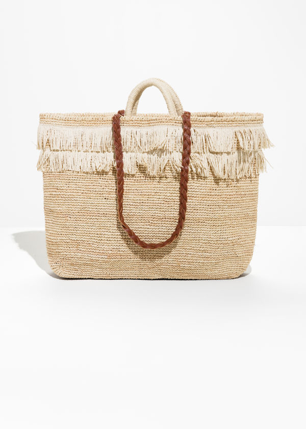Front image of Stories woven straw bag in beige