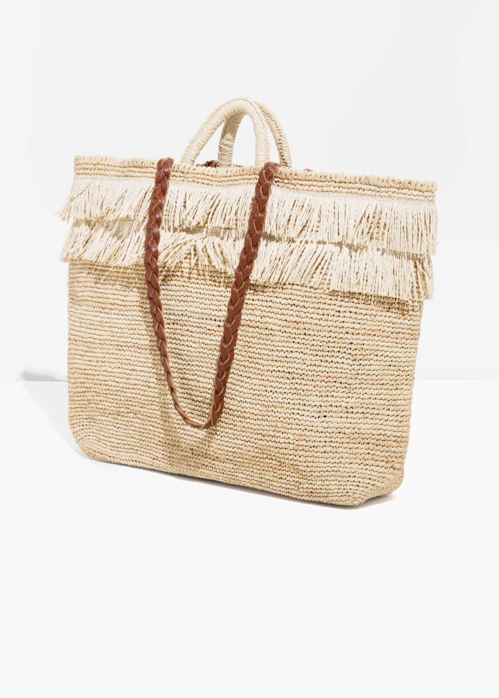 Back image of Stories woven straw bag in beige