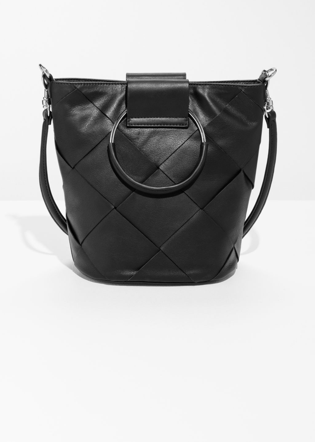 Lattice Leather Bucket Bag