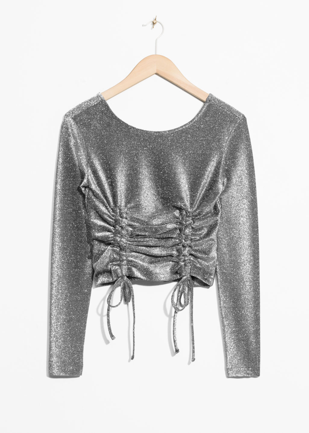 Front image of Stories metallic drawstring top in silver