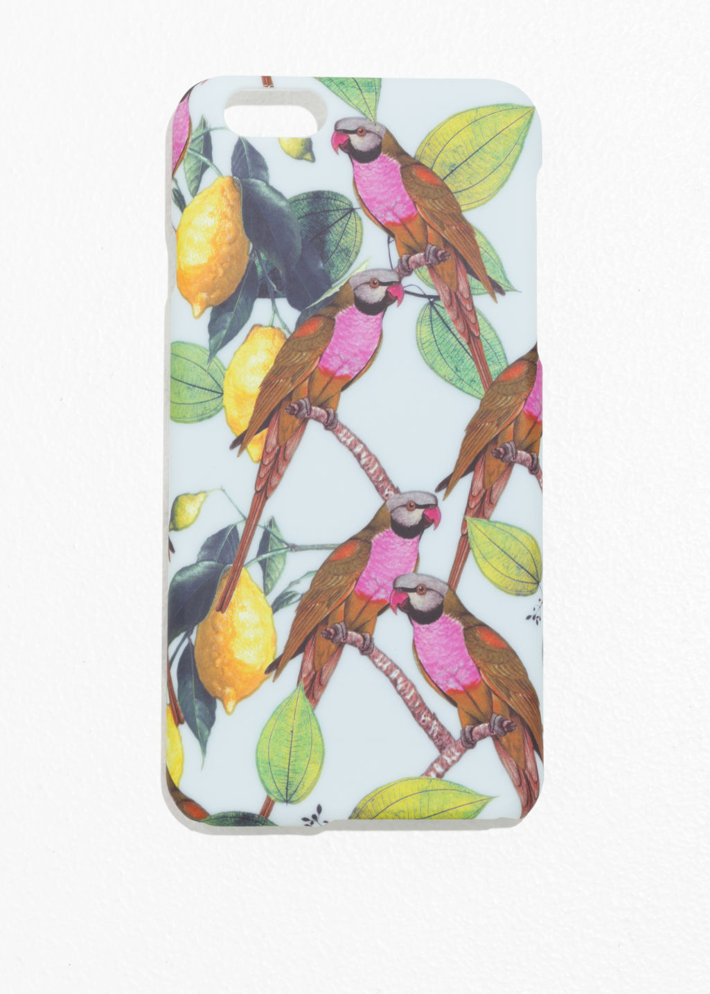 Front image of Stories parrot iphone case  in blue
