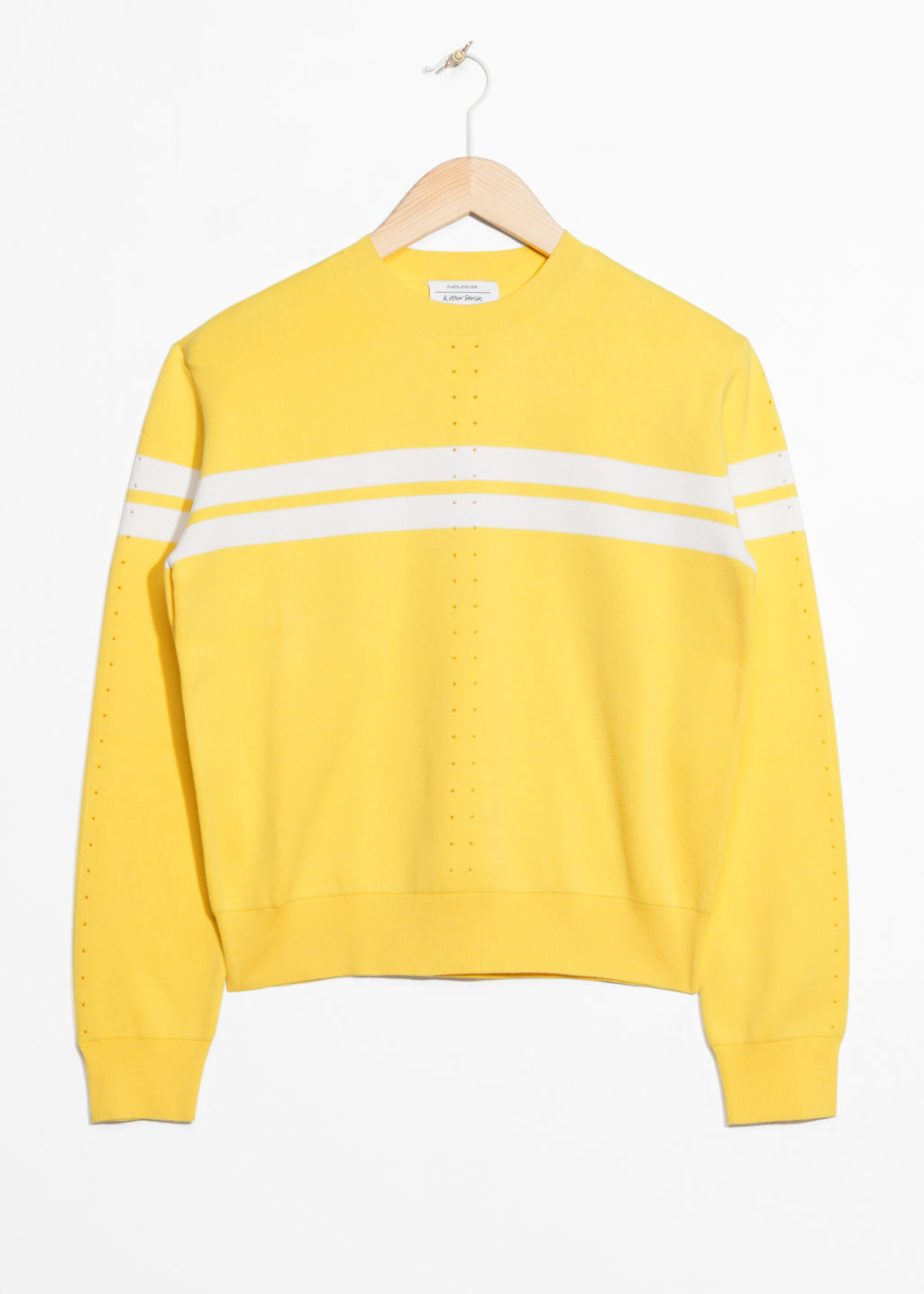 Front image of Stories duo stripe pullover in yellow
