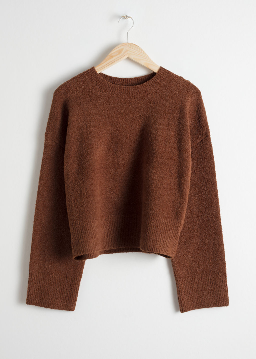 Front image of Stories cropped sweater  in brown