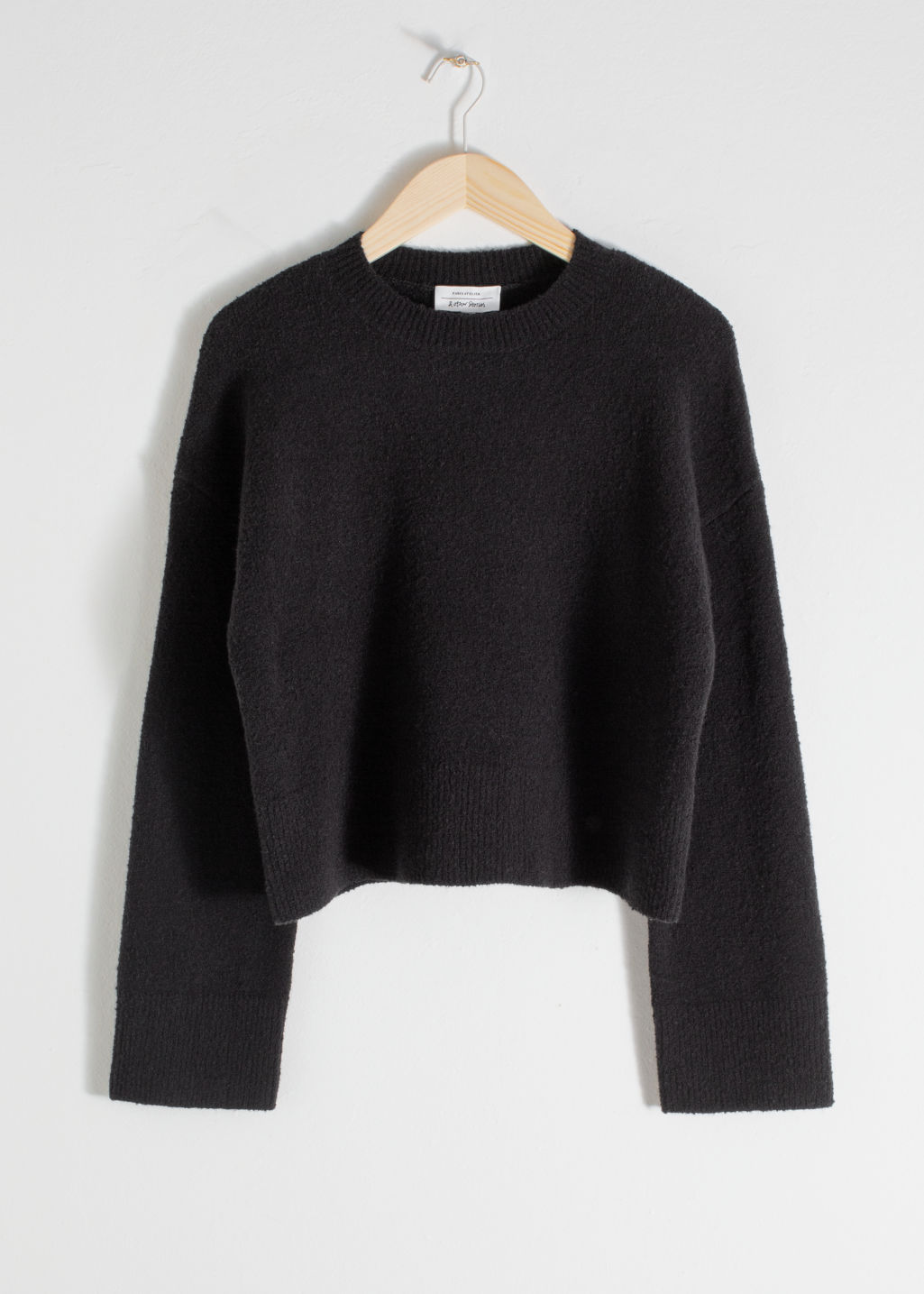 Front image of Stories cropped sweater  in black