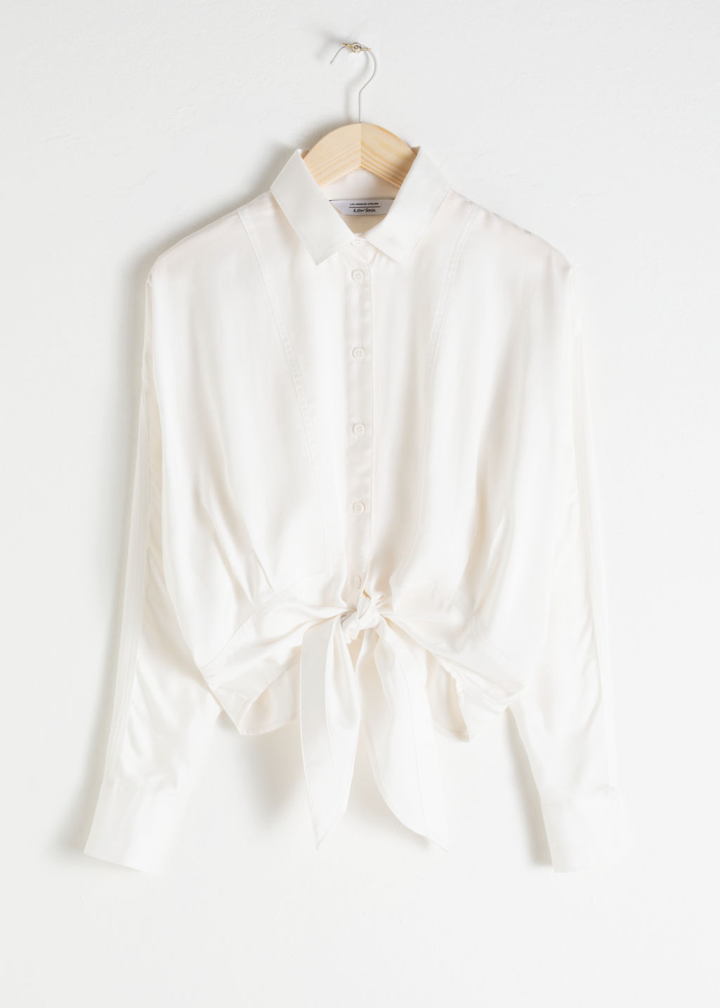 Front image of Stories front tie button down in white