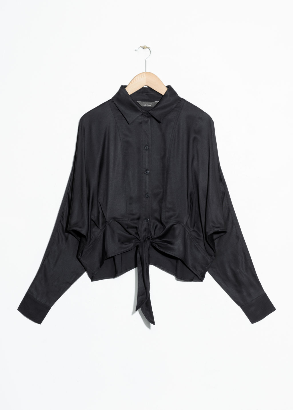 Front image of Stories front tie button down in black