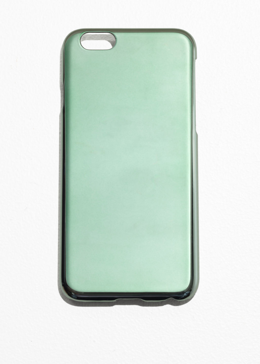 Front image of Stories metallic iphone 6 case  in green