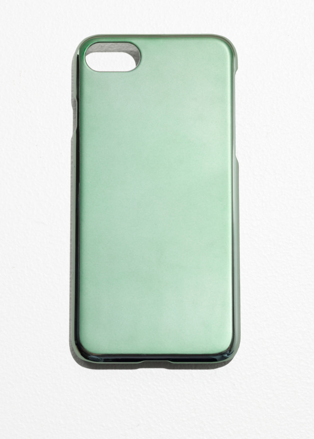 Front image of Stories metallic iphone 7 case  in green