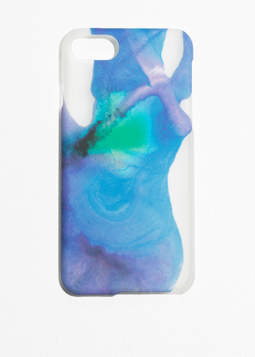 Front image of Stories watercolour iphone case  in blue