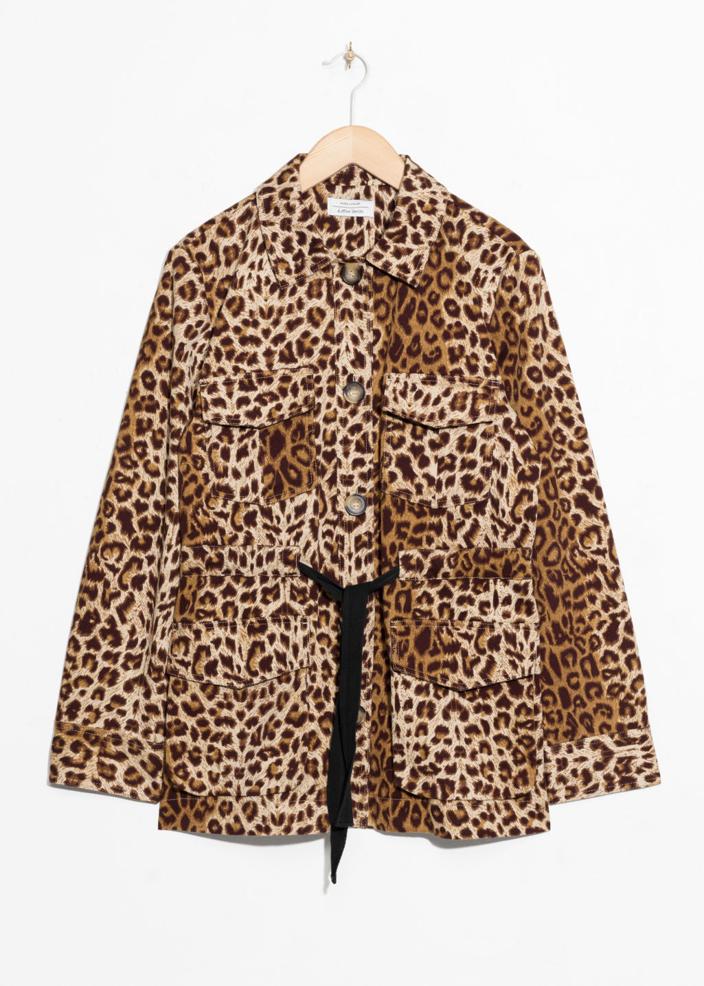 Front image of Stories leopard print jacket in beige