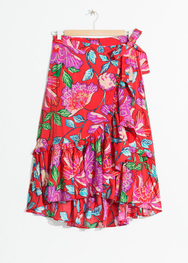 Front image of Stories sheer floral ruffle midi skirt in red