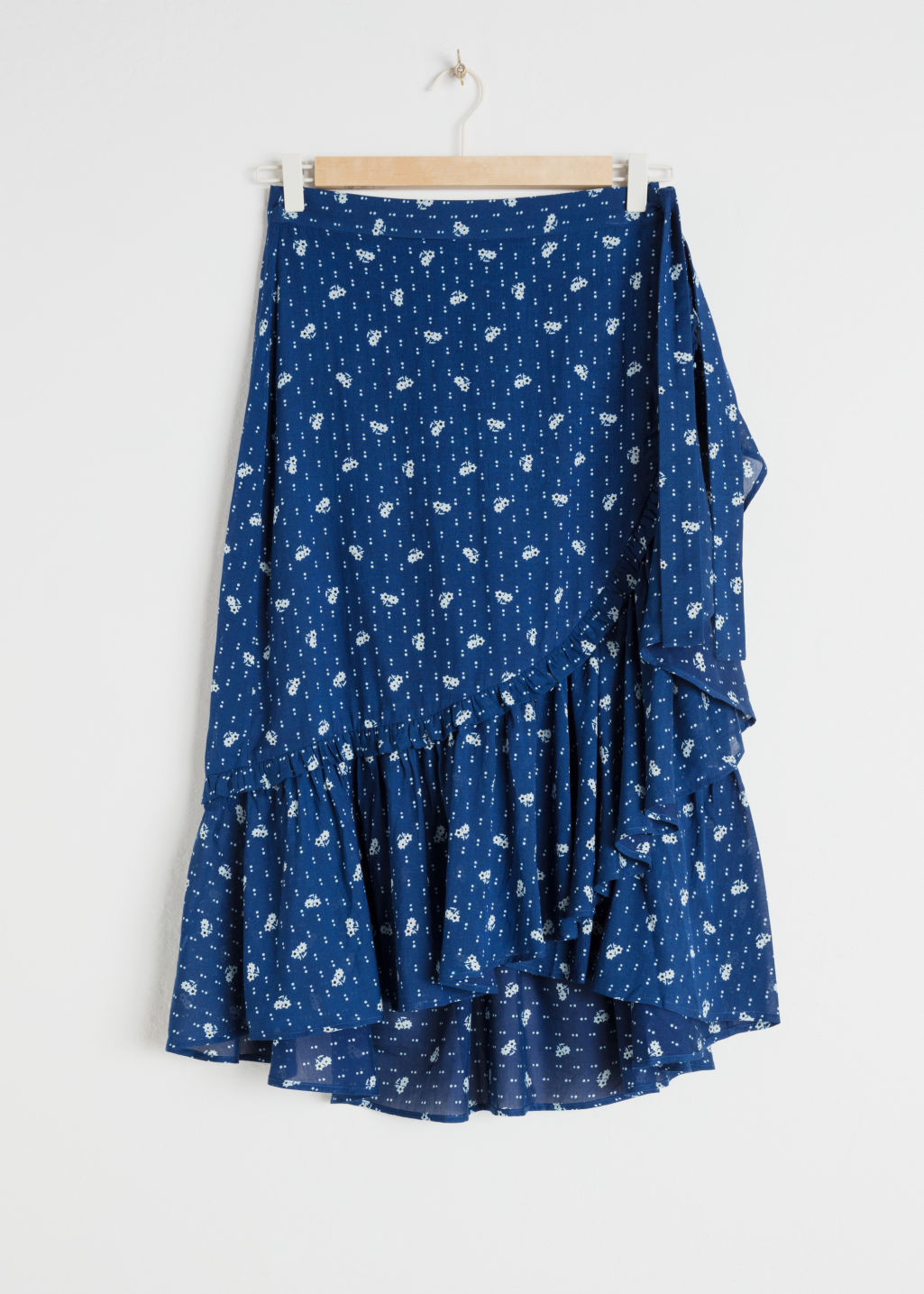 Front image of Stories floral ruffle midi skirt in blue