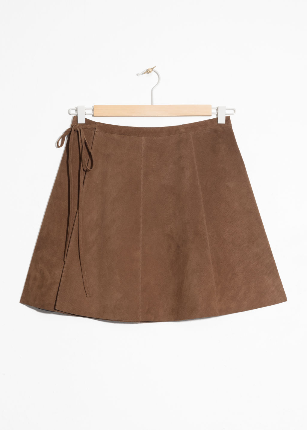 Front image of Stories wrap suede mini skirt in beige