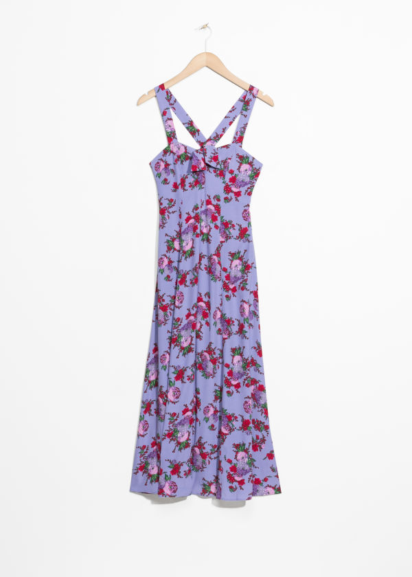 Front image of Stories floral sweetheart midi dress in purple