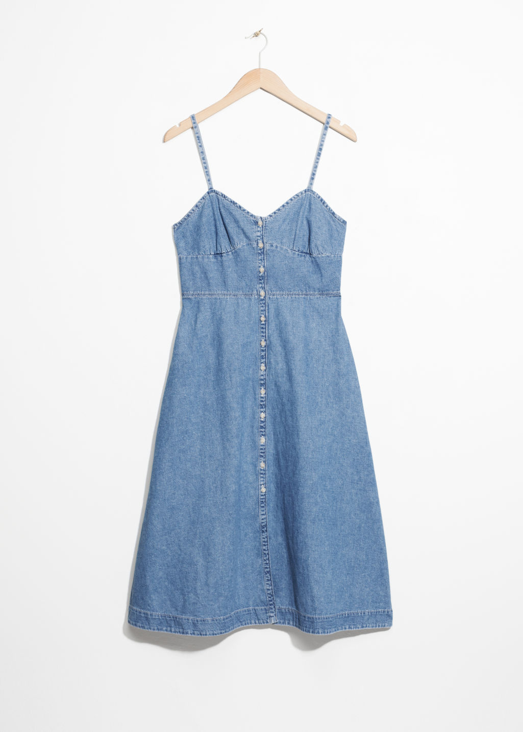 Front image of Stories fit and flare denim dress in blue