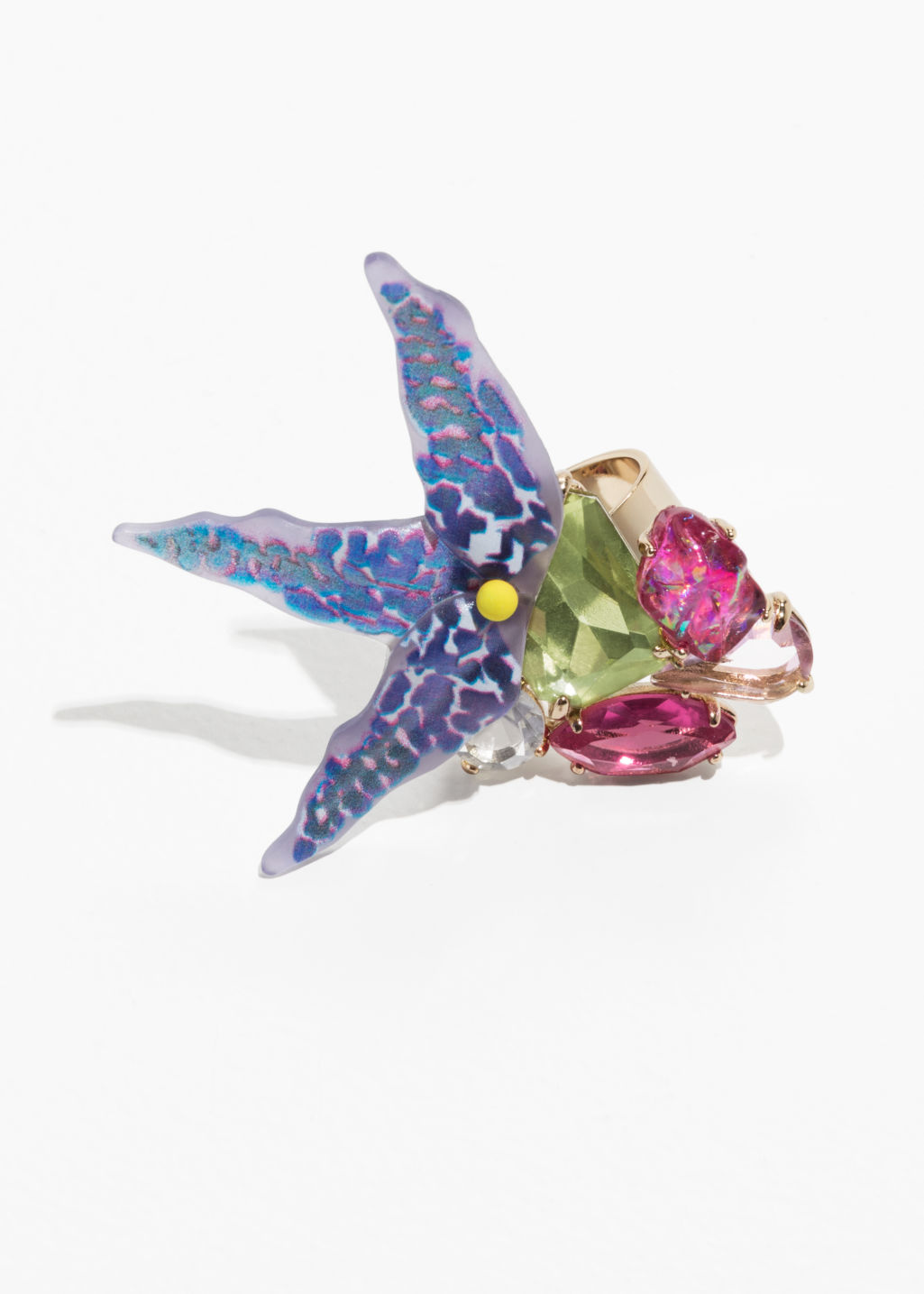 Front image of Stories tropical flower cocktail ring in blue