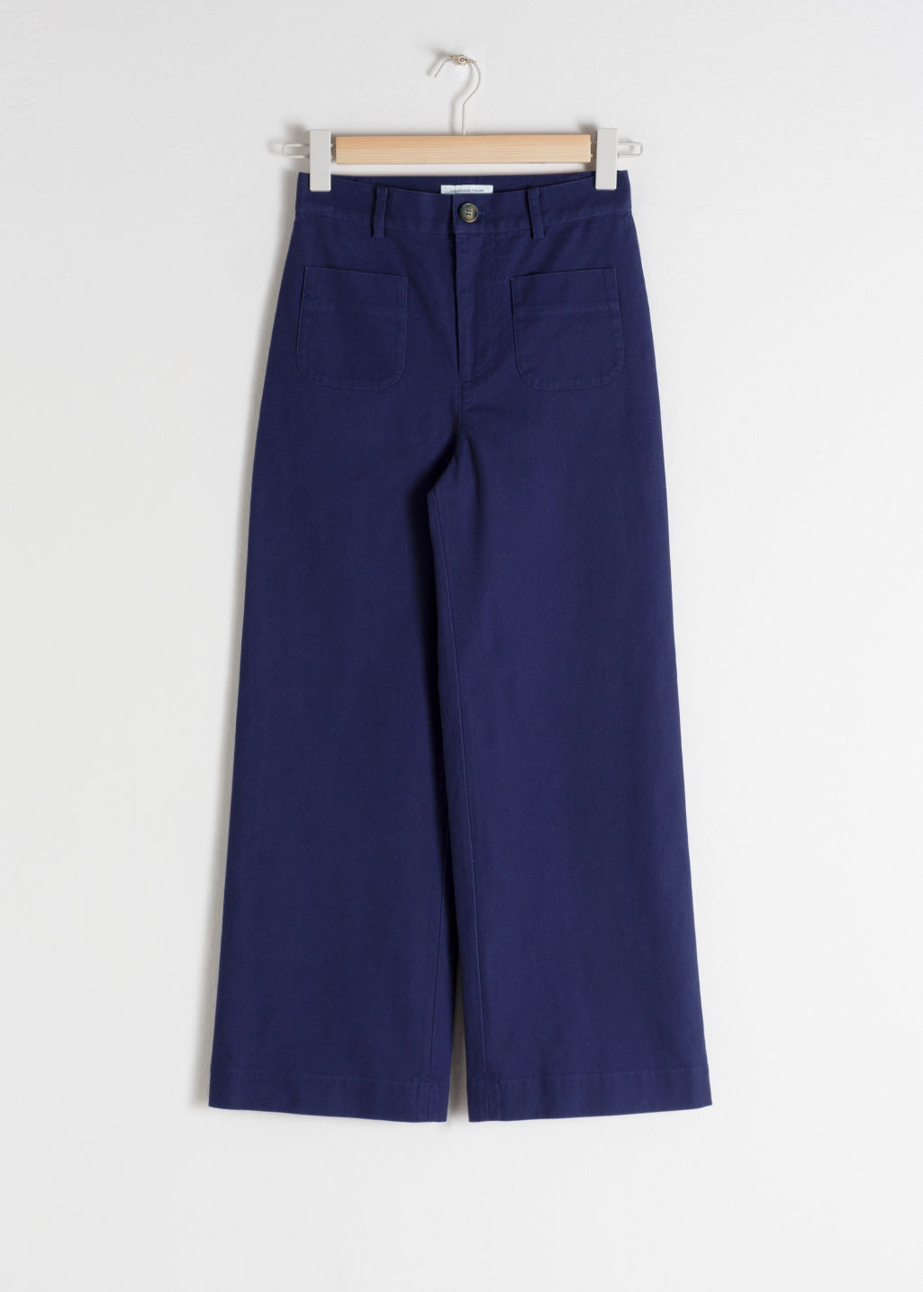 Front image of Stories high waisted twill trousers in blue