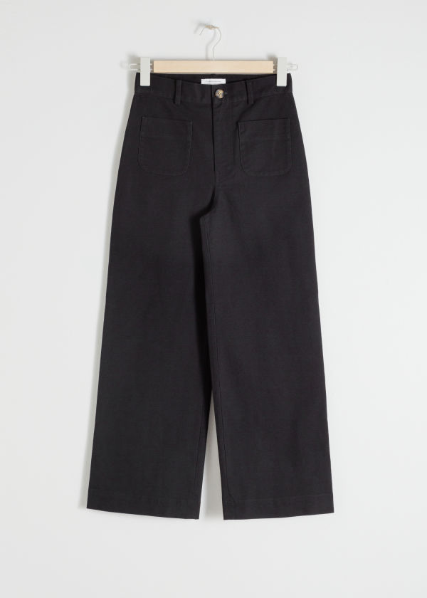 High Waisted Twill Trousers