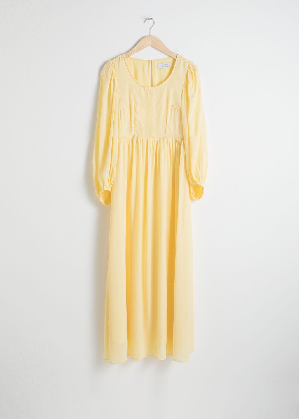 Front image of Stories billowy prarie maxi dress in yellow