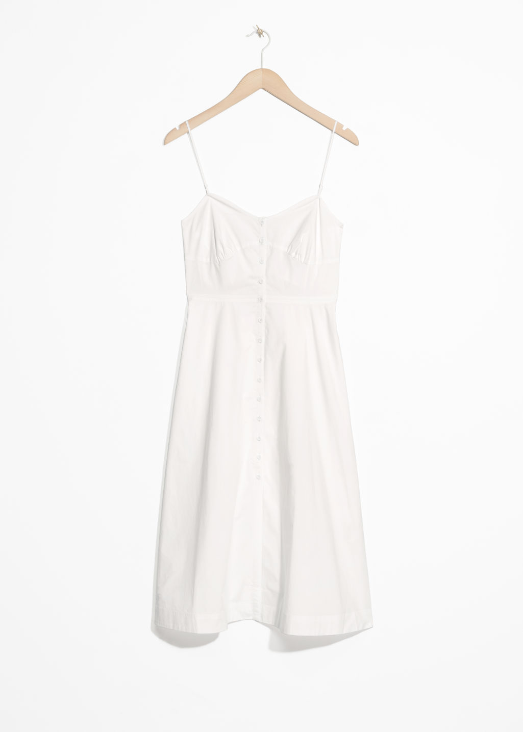 Front image of Stories sweetheart cotton dress in white