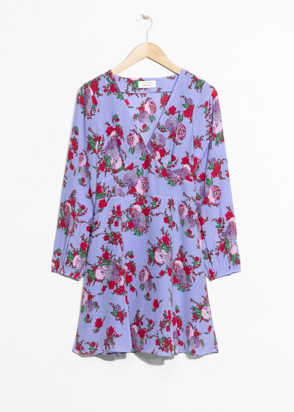 Front image of Stories floral print silk dress in blue