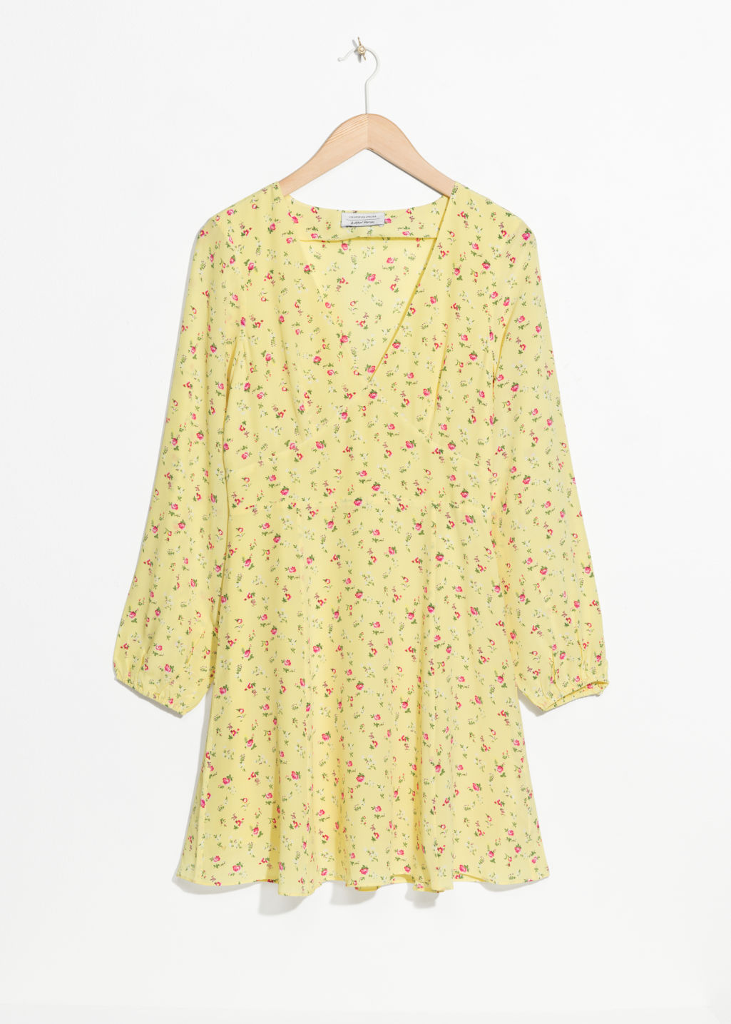Front image of Stories floral print silk dress in yellow