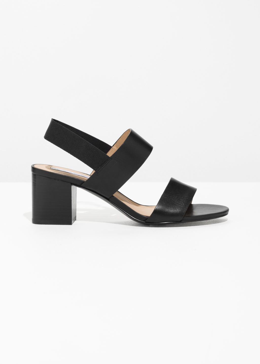 Front image of Stories block heel sandalettes in black