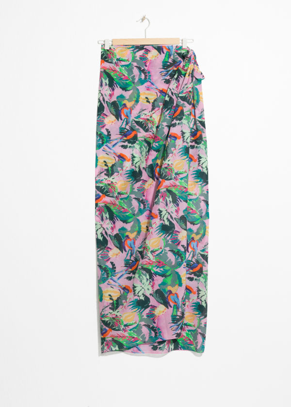 Front image of Stories tropical print sarong in pink