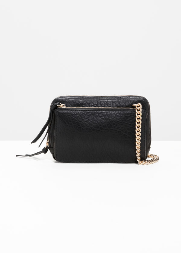 Front image of Stories trio pocket crossbody  in black