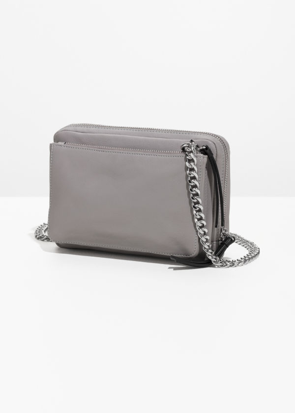 Front image of Stories trio pocket crossbody  in grey