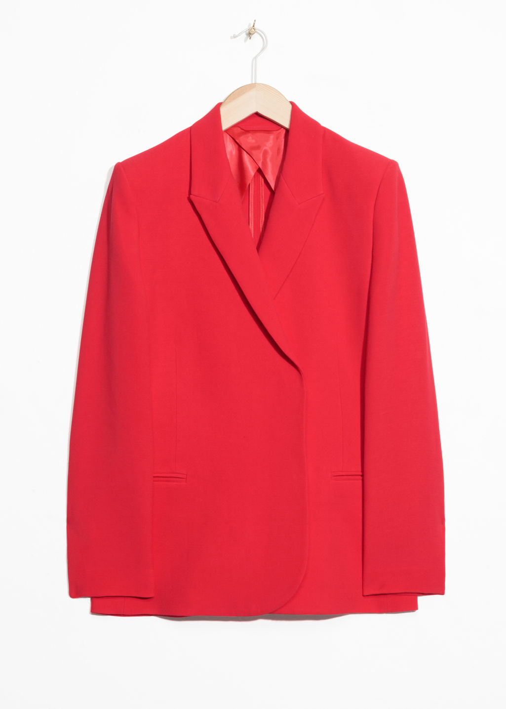 Front image of Stories straight fit blazer  in red