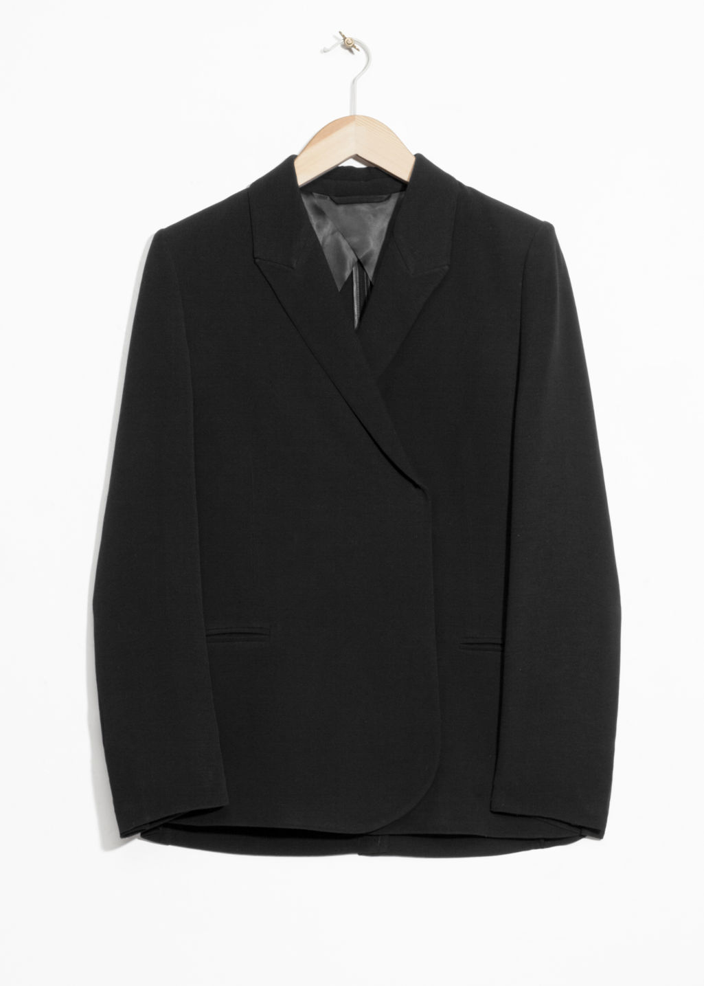 Front image of Stories straight fit blazer  in black
