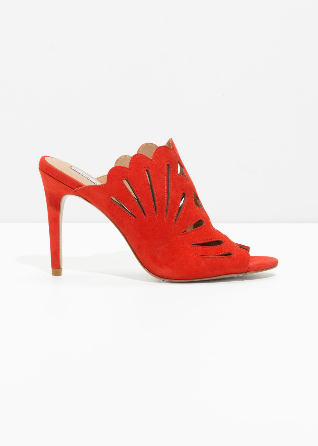 Front image of Stories suede petal cutout pumps in orange