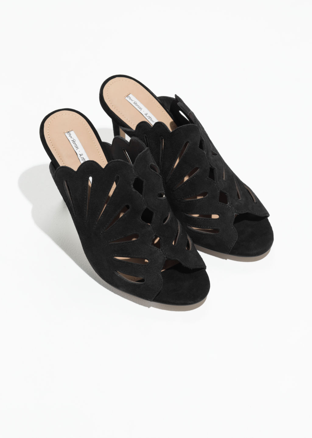 Back image of Stories suede petal cutout pumps in black