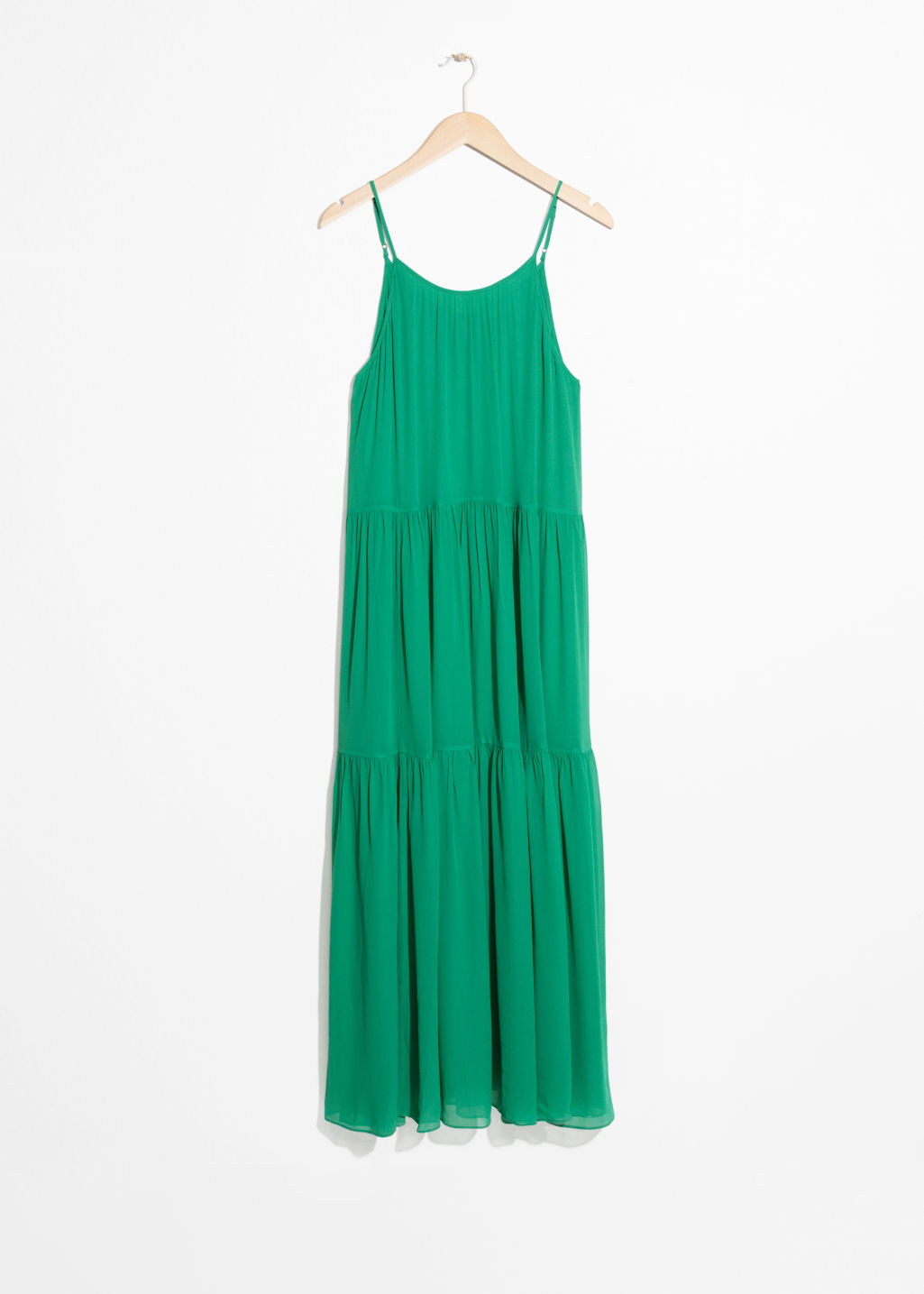 1adaee0f366 A-Line Pleated Maxi Dress - Green - Maxi dresses -   Other Stories