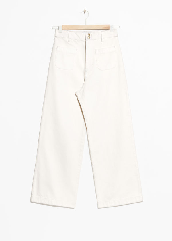 Front image of Stories high waisted twill trousers in white