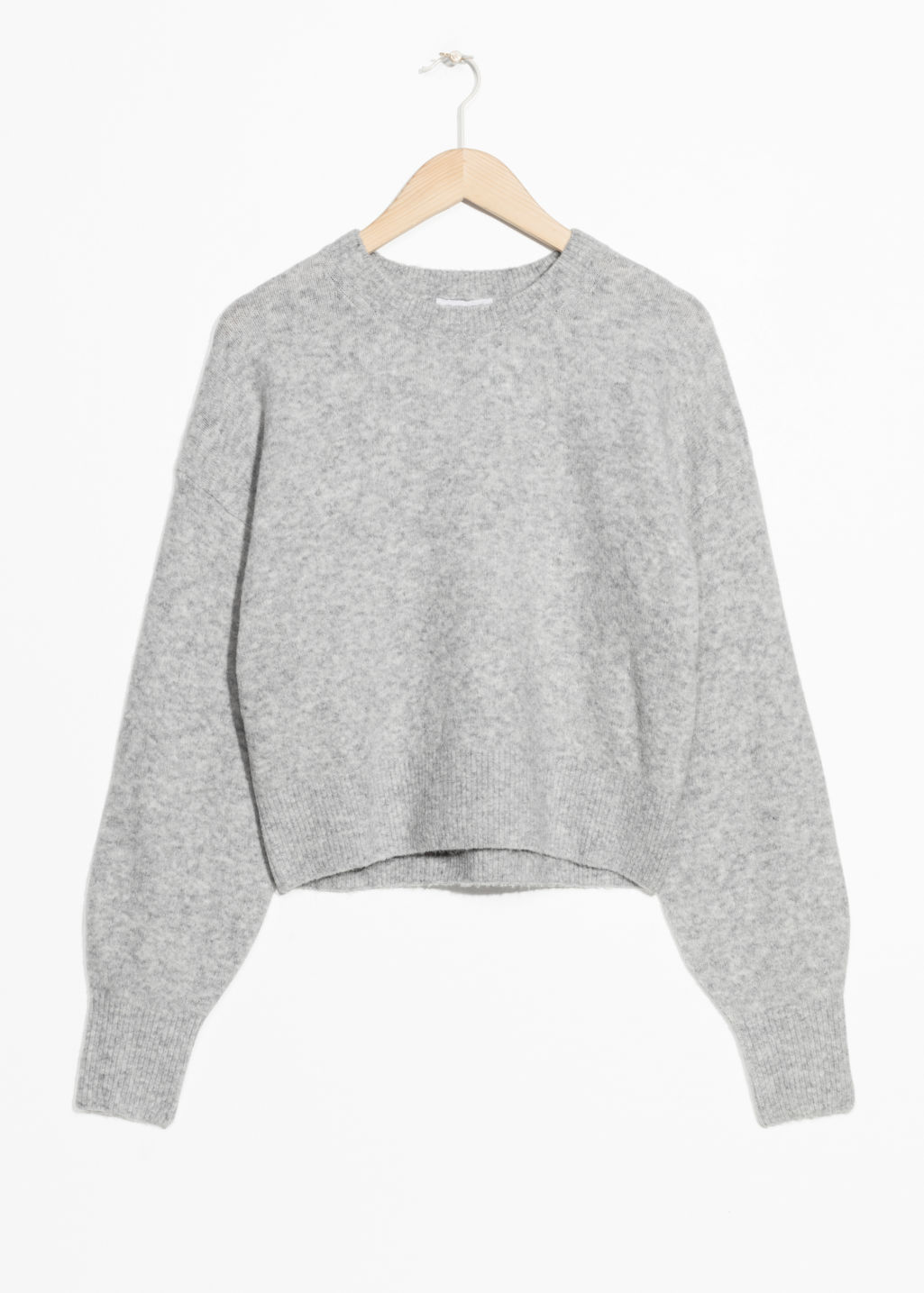 Front image of Stories crewneck sweater in grey