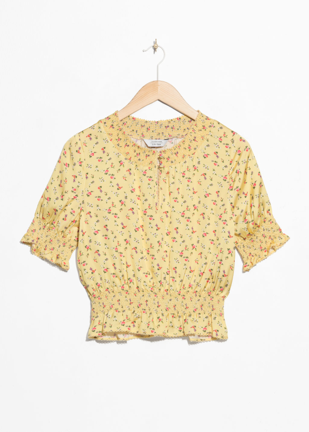 Front image of Stories floral print ruched blouse  in yellow